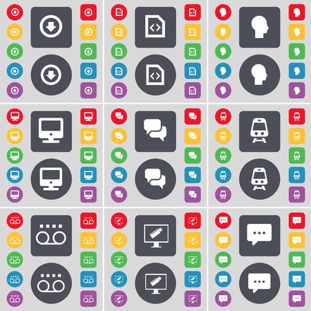chat bubble icon: Arrow down, File, Silhouette, Monitor, Chat, Train, Cassette, Monitor, Chat bubble icon symbol. A large set of flat, colored buttons for your design. illustration
