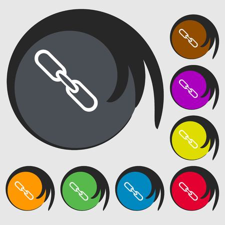 hyperlink: Link sign icon. Hyperlink chain symbol. Symbols on eight colored buttons. illustration Stock Photo