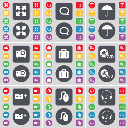 full screen: Full screen, Chat bubble, Umbrella, Projector, Suitcase, DVD, Cassette, Mouse, Headphones icon symbol. A large set of flat, colored buttons for your design. illustration
