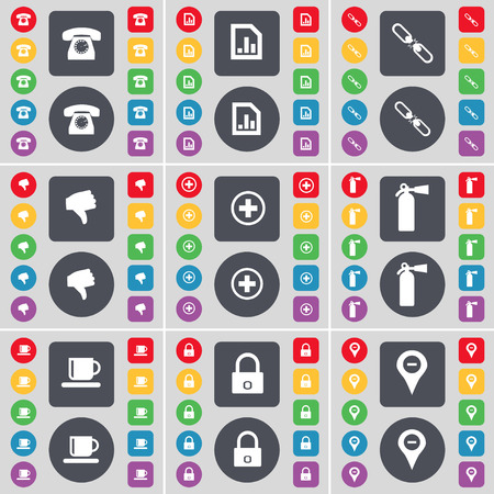 checkpoint: Retro phone, Diagram file, Link, Dislike, Plus, Fire extinguisher, Cup, Lock, Checkpoint icon symbol. A large set of flat, colored buttons for your design. illustration Stock Photo