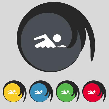 pool symbol: Swimming sign icon. Pool swim symbol. Sea wave. Set colourful buttons illustration