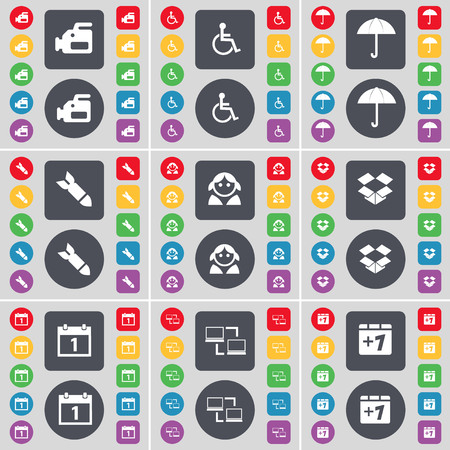 dropbox: Film camera, Disabled person, Umbrella, Rocket, Avatar, Dropbox, Calendar, Connection, Plus one icon symbol. A large set of flat, colored buttons for your design. illustration