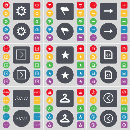 arrow left icon: Gear, Flag, Arrow right, Star, File, Note, Hanger, Arrow left icon symbol. A large set of flat, colored buttons for your design. illustration