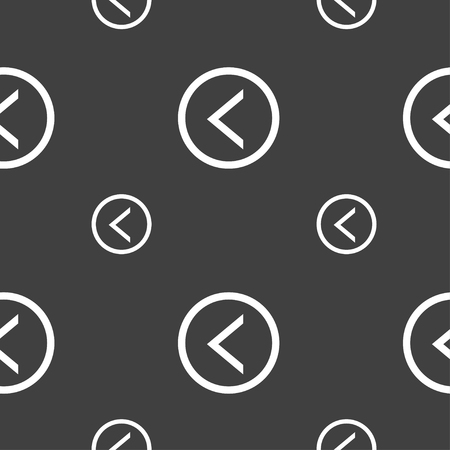 way out: Arrow left, Way out icon sign. Seamless pattern on a gray background. illustration Stock Photo