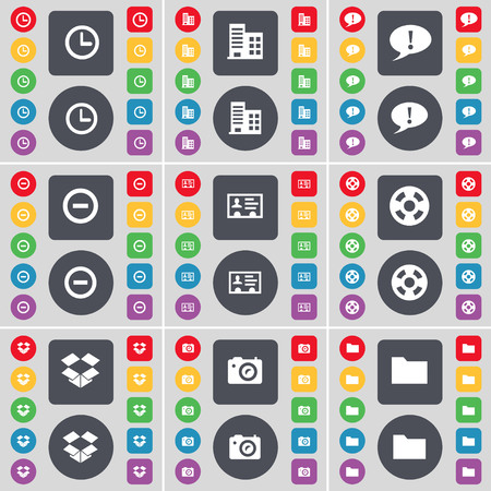 dropbox: Clock, Building, Chat bubble, Minus, Credit card, Videotape, Dropbox, Camera, Folder icon symbol. A large set of flat, colored buttons for your design. illustration