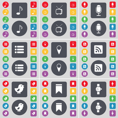 watch tv: Note, Retro TV, Microphone, List, Checkpoint, RSS, Bird, Marker, Wrist watch icon symbol. A large set of flat, colored buttons for your design. illustration