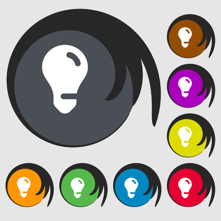 fluorescent lights: light bulb, idea icon sign. Symbol on eight colored buttons. illustration