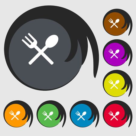 crosswise: Fork and spoon crosswise, Cutlery, Eat icon sign. Symbols on eight colored buttons. illustration Stock Photo