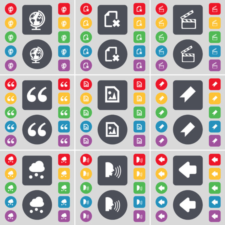 arrow left icon: Globe, File, Clapper, Quotation mark, Media file, Marker, Cloud, Talk, Arrow left icon symbol. A large set of flat, colored buttons for your design. illustration Stock Photo