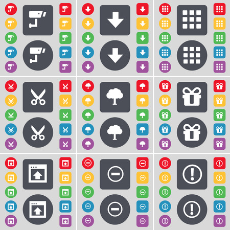 arrow down: CCTV, Arrow down, Apps, Scissors, Tree, Gift, Window, Minus, Warning icon symbol. A large set of flat, colored buttons for your design. illustration Stock Photo