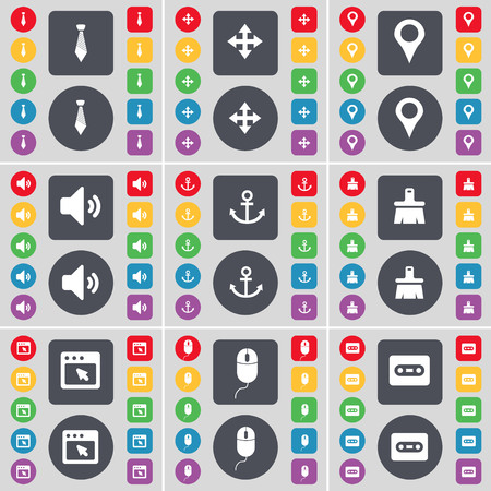 checkpoint: Tie, Moving, Checkpoint, Sound, Anchor, Brush, Window, Mouse, Cassette icon symbol. A large set of flat, colored buttons for your design. illustration
