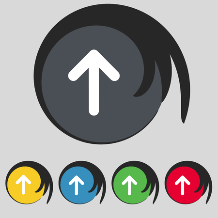 side border: Arrow up, This side up icon sign. Symbol on five colored buttons. illustration