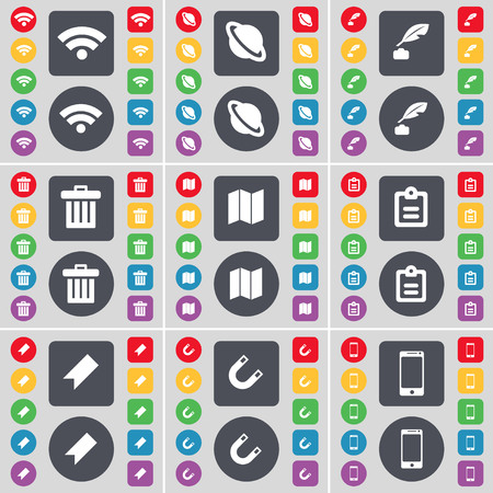 ink pot: Wi-Fi, Planet, Ink pot, Trash can, Map, Survey, Marker, Magnet, Smartphone icon symbol. A large set of flat, colored buttons for your design. illustration Stock Photo