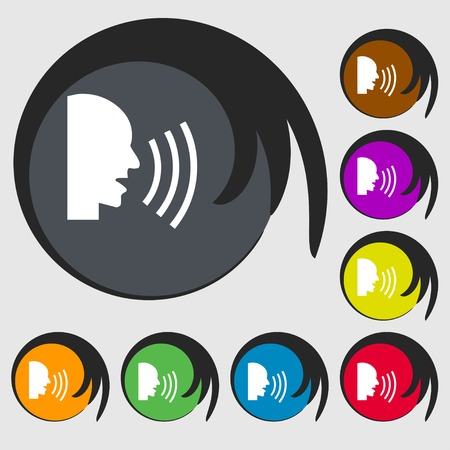 aloud: Talking Flat modern web icon. Symbols on eight colored buttons. illustration Stock Photo