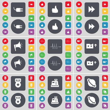 medal like: Socket, Like, Rewind, Megaphone, Pulse, Cassette, Medal, Cash register, Planet icon symbol. A large set of flat, colored buttons for your design. illustration
