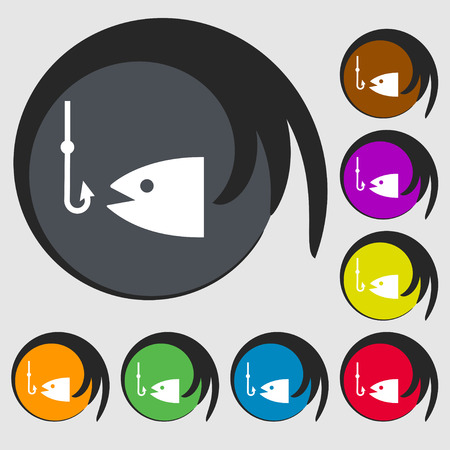 floater: Fishing icon sign. Symbol on eight colored buttons. illustration Stock Photo