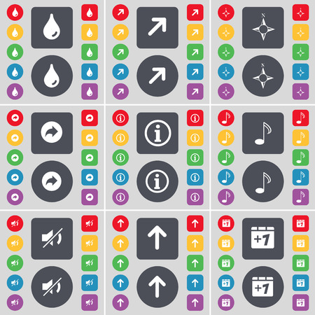 full screen: Drop, Full screen, Compass, Back, Information, Note, Mute, Arrow up, Plus one icon symbol. A large set of flat, colored buttons for your design. illustration