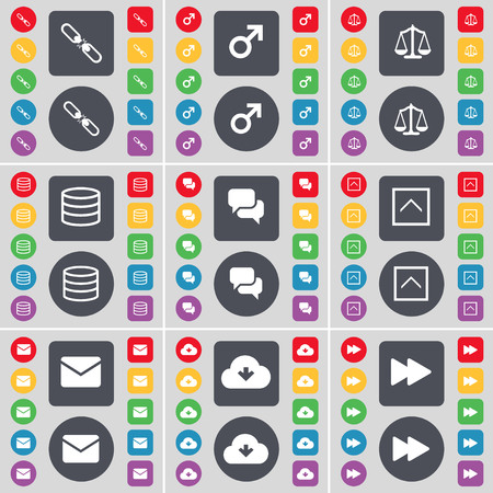 link up: Link, Mars symbol, Scales, Database, Chat, Arrow up, Message, Cloud, Rewind icon symbol. A large set of flat, colored buttons for your design. illustration Stock Photo