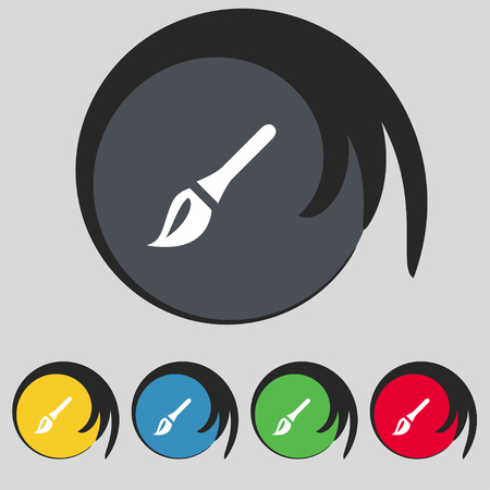 painter decorator: Paint brush, Artist icon sign. Symbol on five colored buttons. illustration Stock Photo