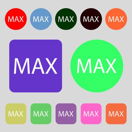 extremity: maximum sign icon.12 colored buttons. Flat design. illustration Stock Photo