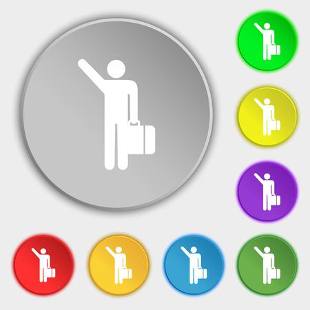 tourist icon: tourist icon sign. Symbol on five flat buttons. illustration