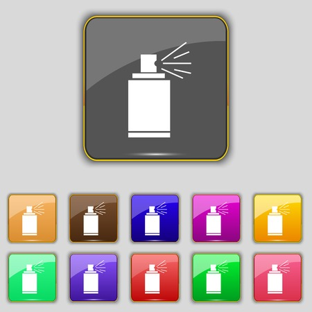 paint can: Graffiti spray can sign icon. Aerosol paint symbol. Set of colored buttons. illustration Stock Photo