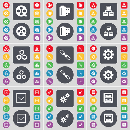 bedtable: Videotape, Negative films, Network, Gear, Link, Gear, Arrow down, Bed-table icon symbol. A large set of flat, colored buttons for your design. illustration Stock Photo