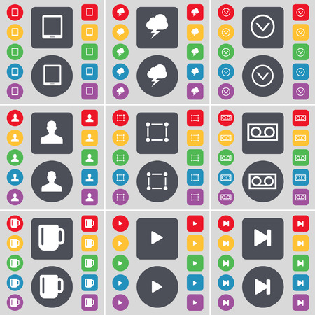 lightning arrow: Tablet PC, Lightning, Arrow down, Avatar, Frame, Cassette, Cup, Media play, Media skip icon symbol. A large set of flat, colored buttons for your design. illustration Stock Photo
