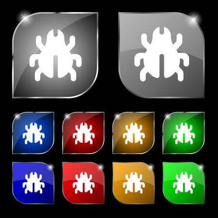 acarus: Software Bug, Virus, Disinfection, beetle icon sign. Set of ten colorful buttons with glare. illustration