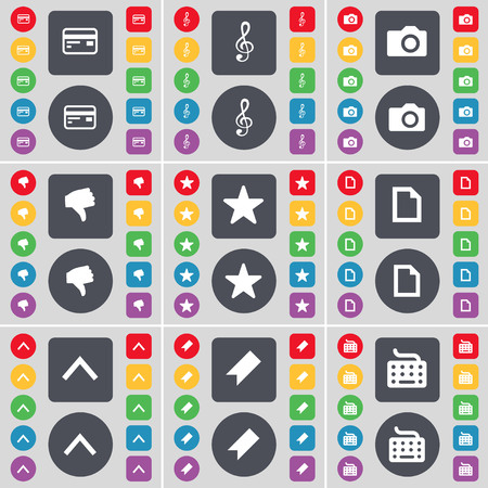 up marker: Credit card, Clef, Camera, Dislike, Star, File, Arrow up, Marker, Keyboard icon symbol. A large set of flat, colored buttons for your design. illustration Stock Photo
