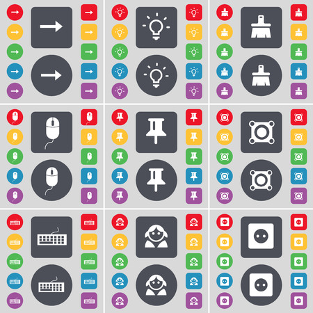 light socket: Arrow right, Light bulb, Brush, Mouse, Pin, Speaker, Keyboard, Avatar, Socket icon symbol. A large set of flat, colored buttons for your design. illustration Foto de archivo
