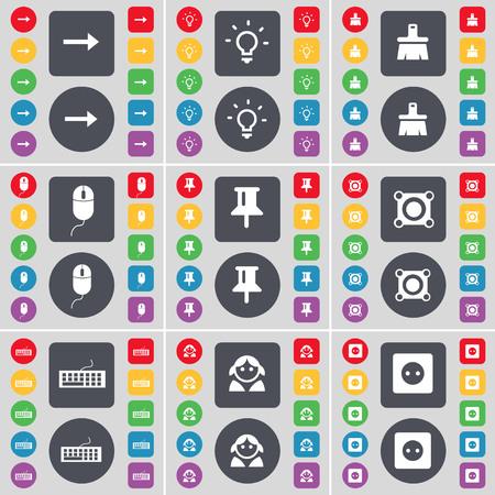 enchufe de luz: Flecha derecha bombilla, luz, pincel, ratón, Pin, altavoz, teclado, Avatar, Socket icono de símbolo. Un gran conjunto de botones planos, de color para su diseño. ilustración
