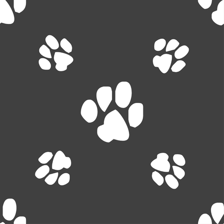 conservative: trace dogs icon sign. Seamless pattern on a gray background. illustration Stock Photo