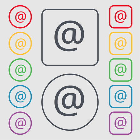 media distribution: E-Mail icon sign. symbol on the Round and square buttons with frame. illustration