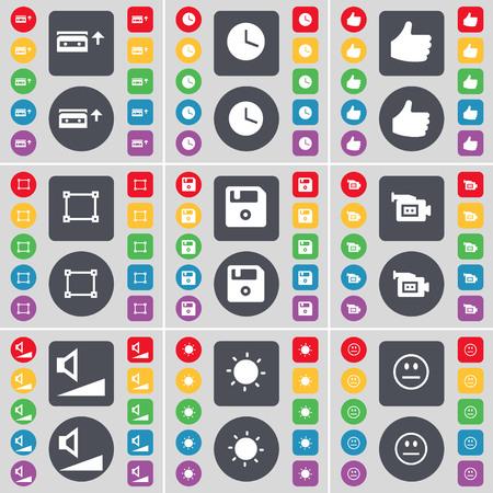Cassette, Clock, Like, Frame, Floppy, Film camera, Volume, Light, Smile icon symbol. A large set of flat, colored buttons for your design. illustration
