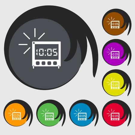 digital clock: digital Alarm Clock icon sign. Symbols on eight colored buttons. illustration Stock Photo