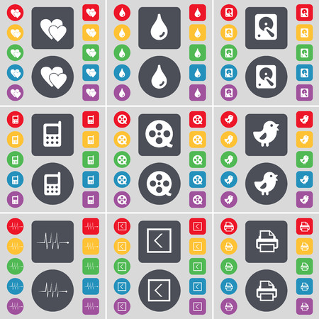 videotape: Heart, Drop, Hard drive, Mobile phone, Videotape, Bird, Pulse, Arrow left, Printer icon symbol. A large set of flat, colored buttons for your design. illustration