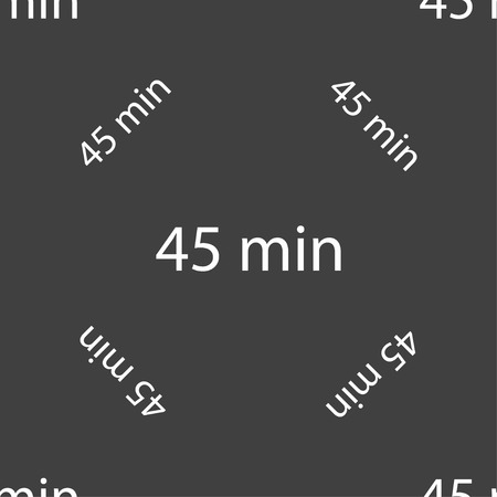 minutes: 45 minutes sign icon. Seamless pattern on a gray background. illustration