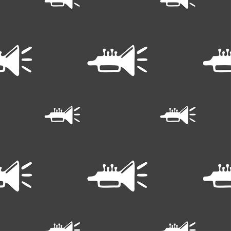 brass instrument: trumpet, brass instrument icon sign. Seamless pattern on a gray background. illustration