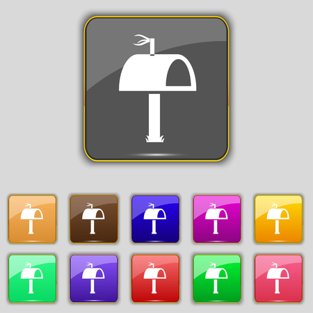 eleven: Mailbox icon sign. Set with eleven colored buttons for your site. Stock Photo