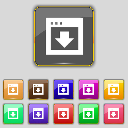 down load: Arrow down, Download, Load, Backup icon sign. Set with eleven colored buttons for your site. illustration