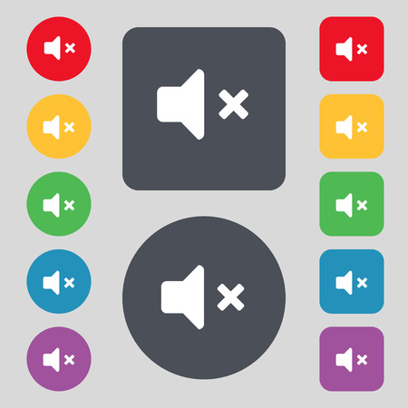 tech no: Mute speaker , Sound icon sign. A set of 12 colored buttons. Flat design. illustration