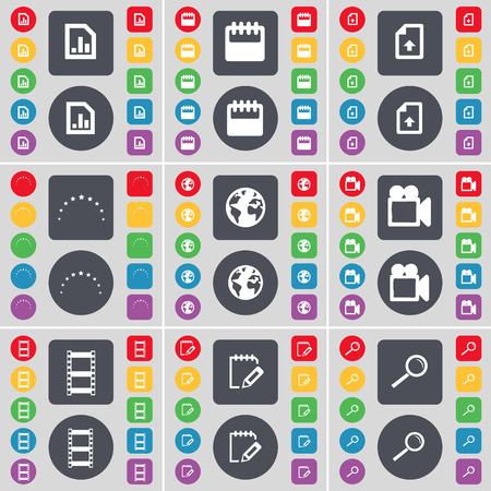 magnifying glass icon: Diagram, Calendar, Upload file, Stars, Earth, Film camera, Negative films, Notebook, Magnifying glass icon symbol. A large set of flat, colored buttons for your design. illustration