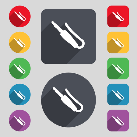 minijack: plug, mini jack icon sign. A set of 12 colored buttons and a long shadow. Flat design. illustration