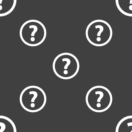 quality questions: Question mark sign icon. Help speech bubble symbol. FAQ sign. Seamless pattern on a gray background. illustration
