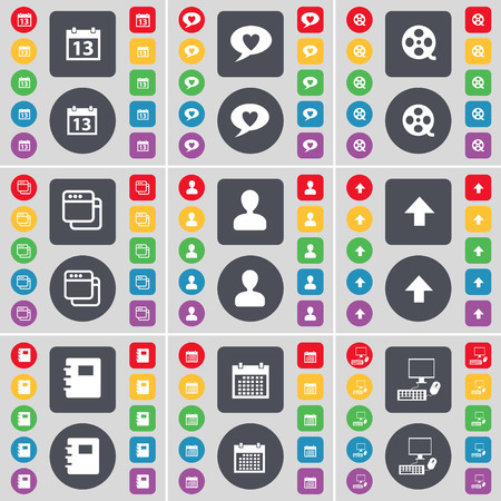 chat window: Calendar, Chat bubble, Videotape, Window, Avatar, Arrow up, Notebook, Calendar, PC icon symbol. A large set of flat, colored buttons for your design. illustration Stock Photo