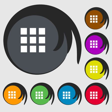 the view option: List sign icon. Content view option symbol. Symbols on eight colored buttons. illustration
