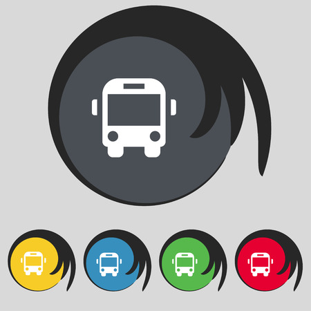 schoolbus: Bus icon sign. Symbol on five colored buttons. illustration Stock Photo