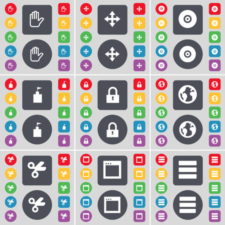 earth moving: Hand, Moving, Disk, Flag tower, Lock, Earth, Scissors, Window, Apps icon symbol. A large set of flat, colored buttons for your design. illustration