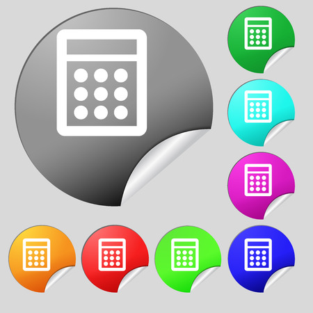 calc: Calculator sign icon. Bookkeeping symbol. Set of eight multi colored round buttons, stickers. illustration